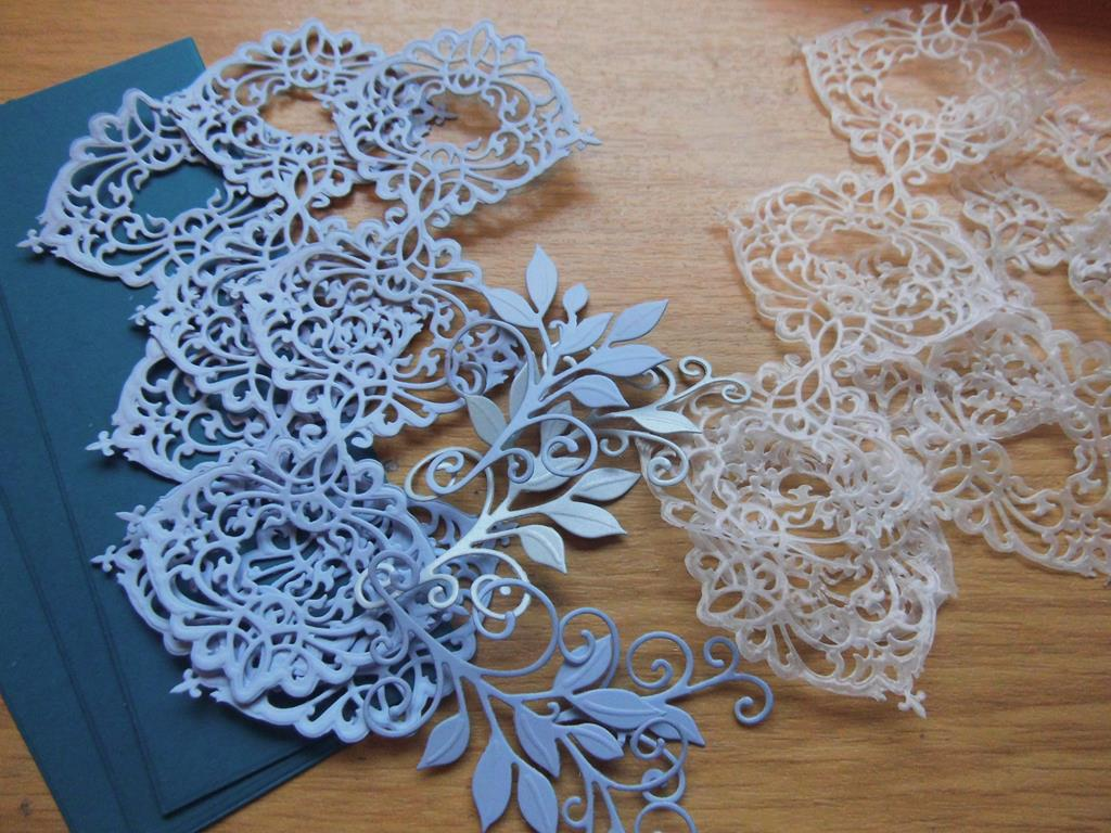 Waste Wax Paper Flower Teal Card