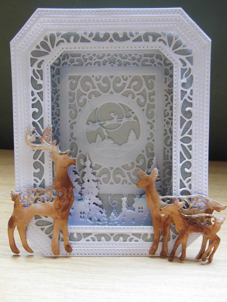 Sue Wilson Ornate Pierced Boxed Frame Reindeer Card |